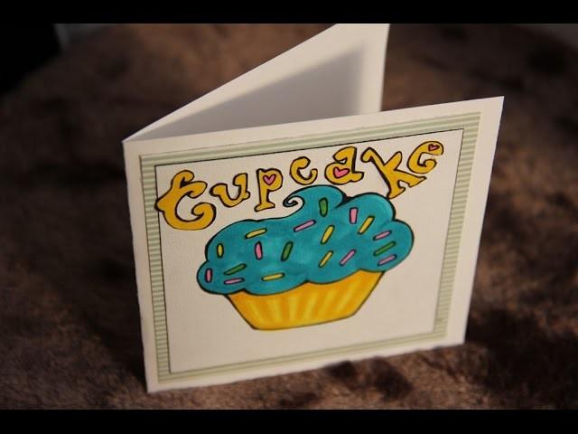 DIY Carte. Scrapbooking # La carte Cupcake avec les feutres à alcool Graph'it