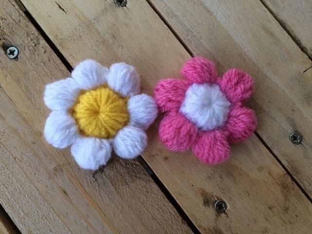 Fleurs puff au crochet. flor puff a crochet