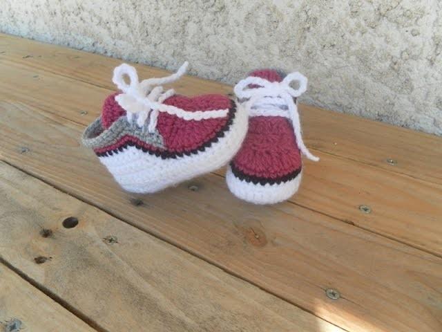 Baskets bébé partie 2. Zapatitos bebe a crochet parte 2