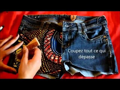 DIY  relooker son short en jean avec du tissu africain (wax)