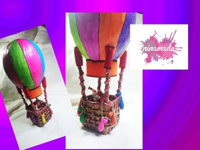 DIY.Tirelire montgolfière en papier maché.Activité pour enfants.