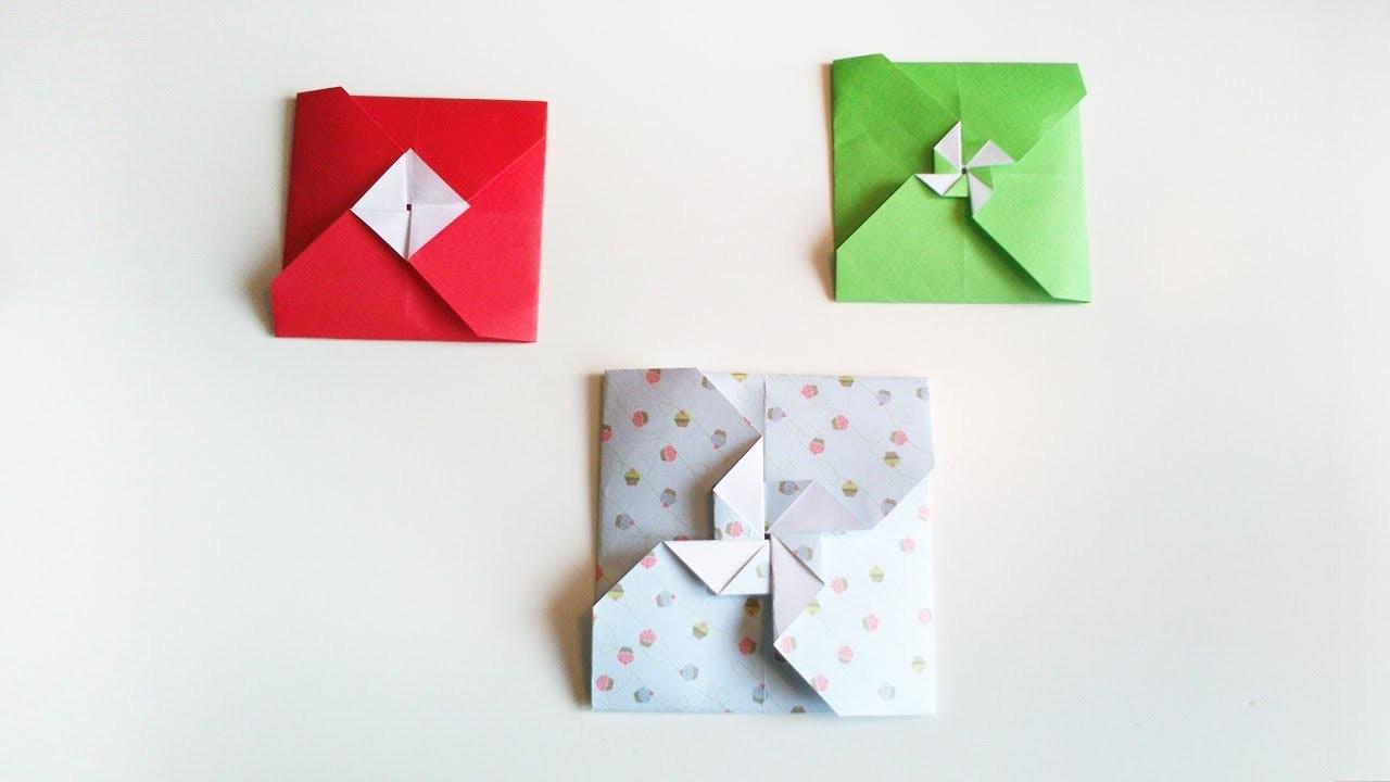 HD. TUTO: 2 façon de faire une enveloppe en origami - 2 ways to make a origami envelope