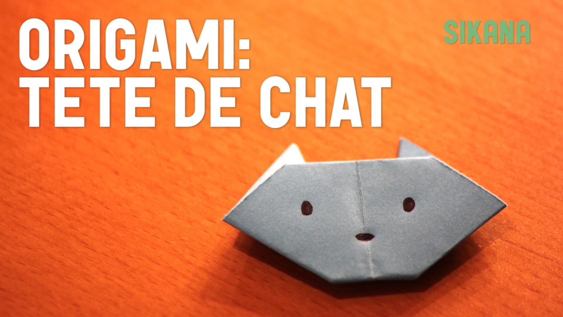 Origami : Tête de chat (facile) - HD