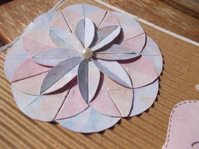 Tuto : faire une fleur en papier+carte de naissance. Tutorial: make a paper flower+a birth card.