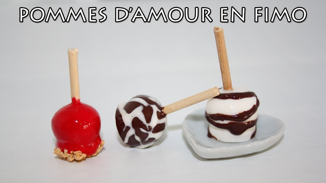 Pommes d'amour en FIMO. Polymer clay love apple tutorial