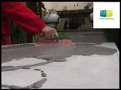 Béton ciré sur table ancienne - polished concrete on an old table, video design