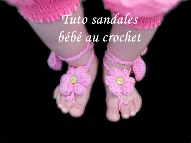 TUTO CROCHET SANDALES BIJOUX DE PIEDS BEBE FLEURS AU CROCHET FACILE EASY CROCHET BABY SANDAL