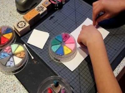 Accroscrap : technique de réalisation de faux timbres  pour le scrap