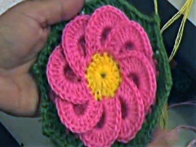 Belle fleur au crochet وردة جميلة بالكروشيه