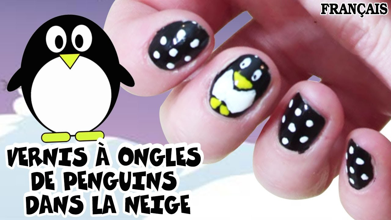 Facile DIY Français: Vernis à Ongles Penguins dans la Neige | Penguin Nail Art | DIY French Style