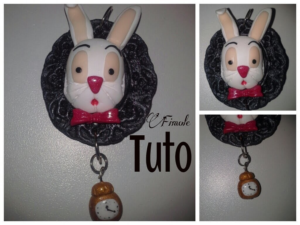 Tuto fimo lapin dans alice. polymer clay rabbit in alice