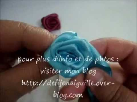 Tuto fleur en ruban de satin How to make a flower with the satin ribbon