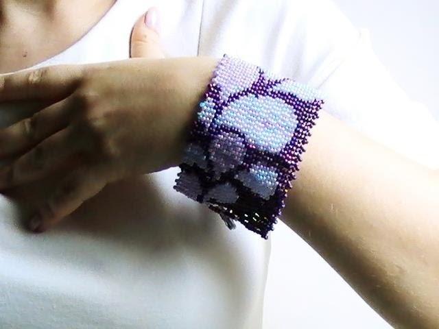 Bracelet manchette tissé de perles de rocaille