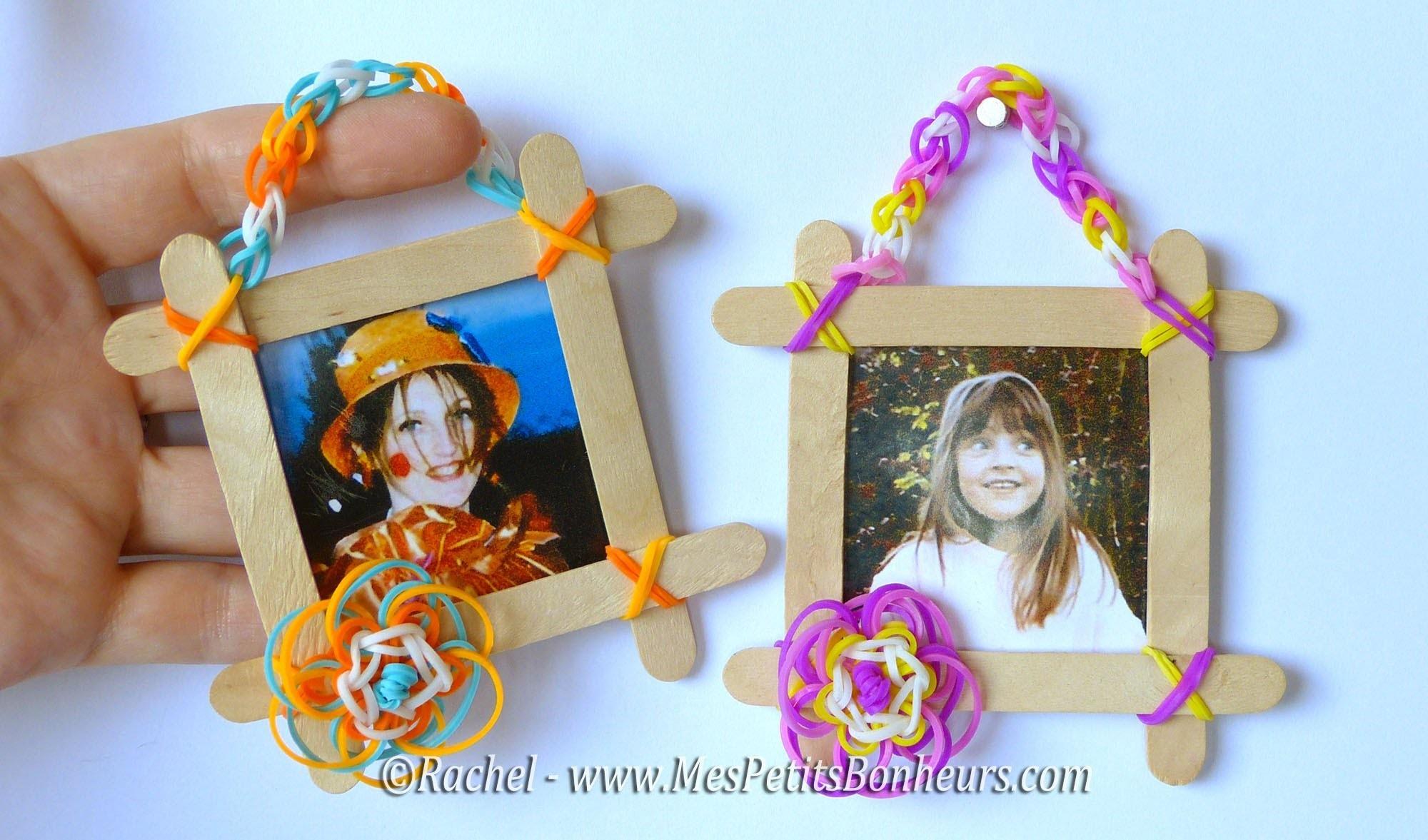 Cadre fleur et chainette au crochet en élastiques Rainbow Loom - Facile