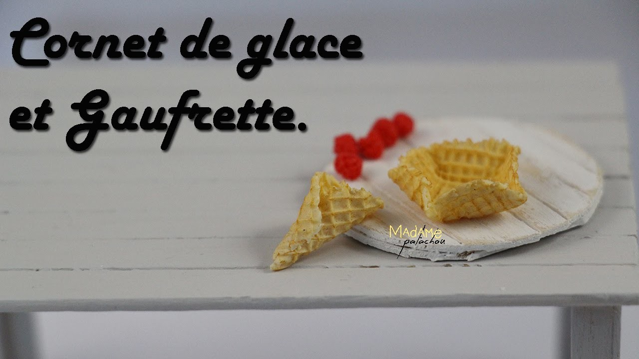 Cornet De Glace Et Gaufrette. Waffle ice cream  (Tuto Fimo.Polymer Clay Tutorial)