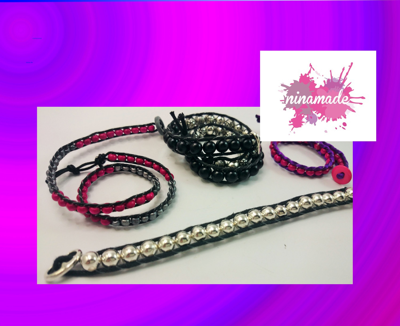DIY. Bracelet avec des perles et  double cordon.