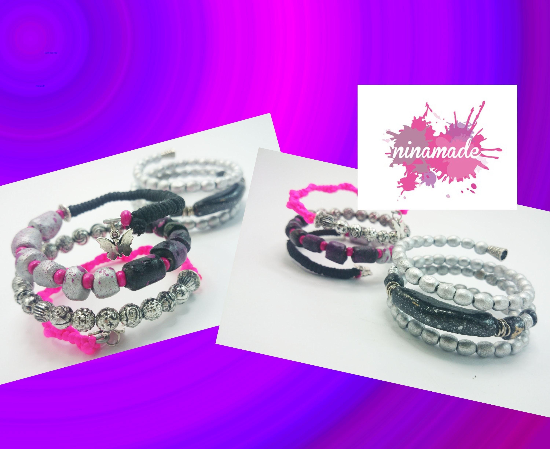 DIY.Bracelet avec du  fil de fer, perles en pâte à modeler et d'autres .