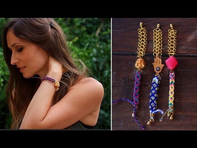 DIY : bracelet brésilien revisité modèle diamant- Friendship bracelet diamond pattern (english subs)