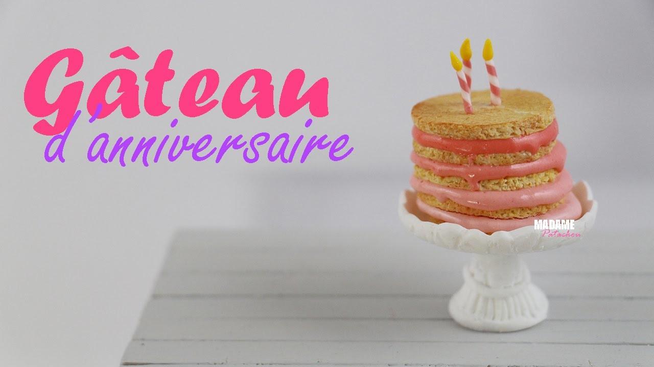 Gâteau d'Anniversaire. Birthday Cake (Tuto Fimo.Polymer Clay Tutorial)
