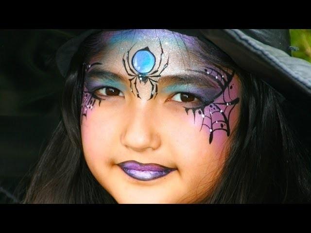 Maquillage de jolie sorcière avec araignée - Tutoriel maquillage Halloween pour enfant ou adulte!