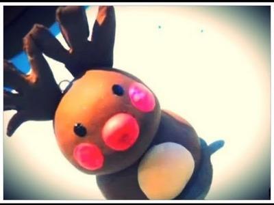 "Tutoriel - DIY : Les Rennes en Fimo de Noel - Polymer Clay Reindeer""Joyeux Noël"" Merry Christmas"