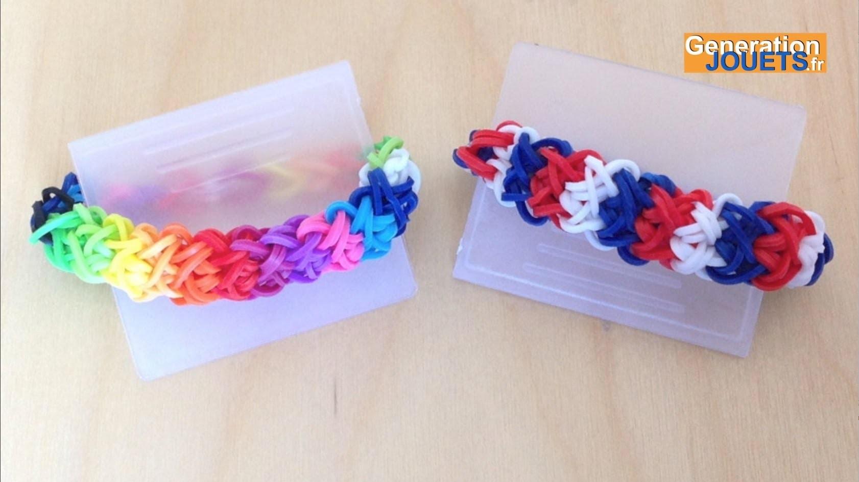 Créer un bracelet élastique double x tricolore