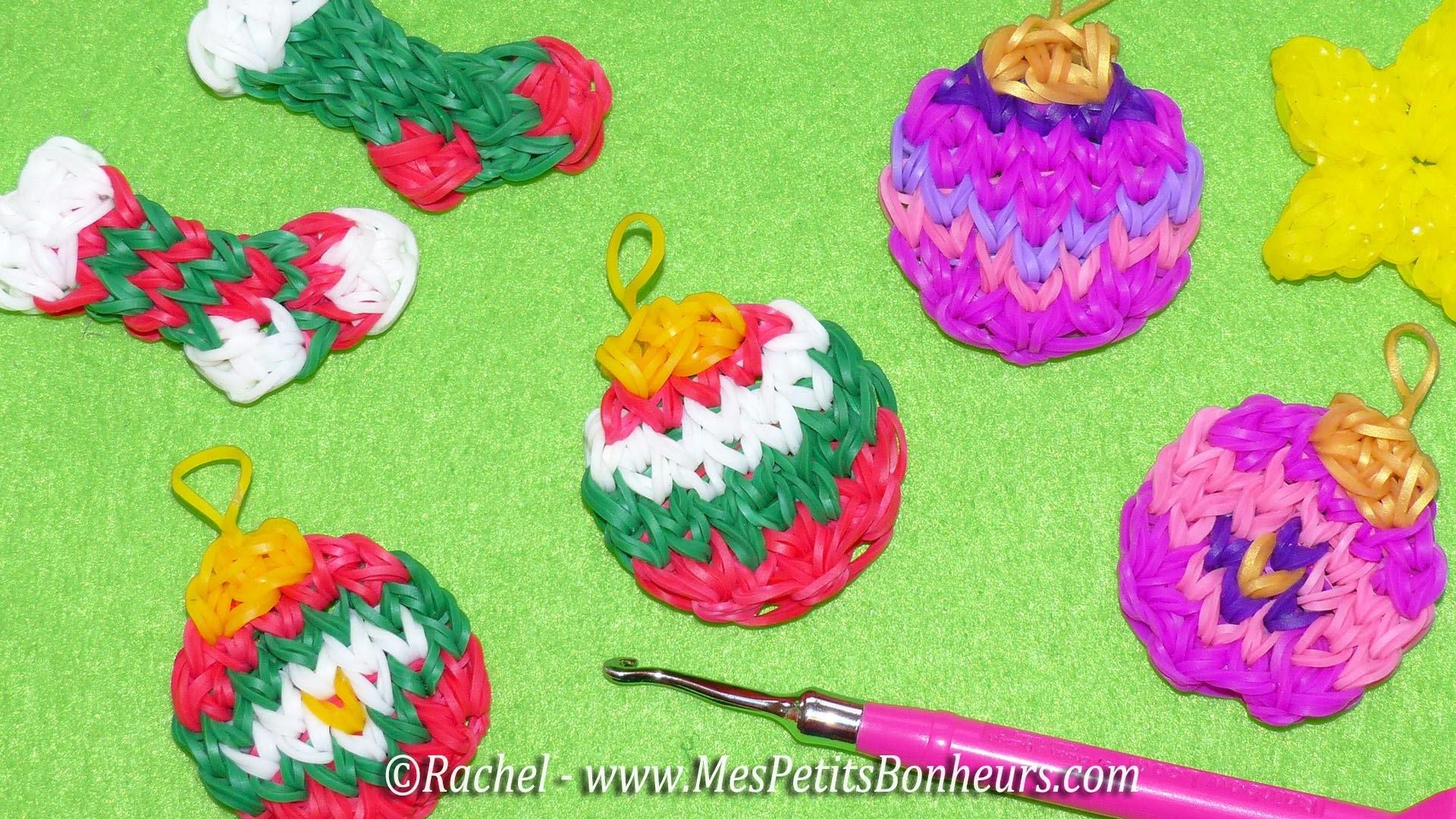 Boules de Noël Rainbow Loom - Tuto en élastiques pour déco de sapin