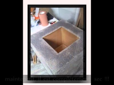 Création d'un méga-pot en carton et papier maché.