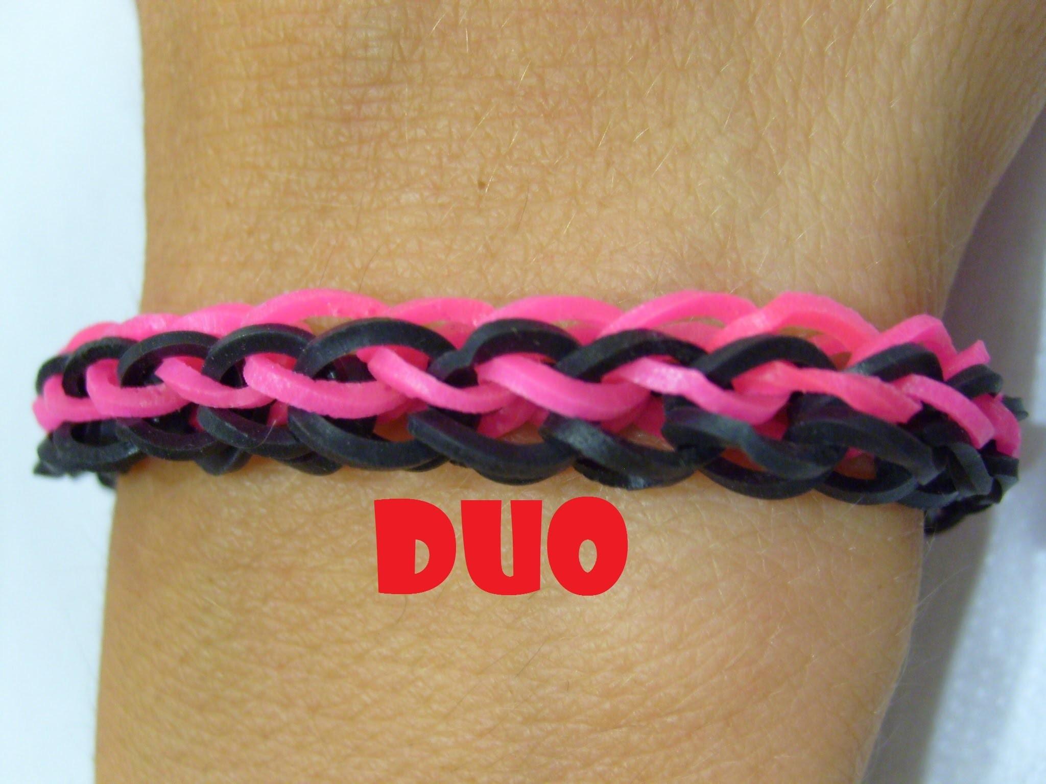 Bracelet elastique duo en rainbow loom bands. Tuto facile en francais