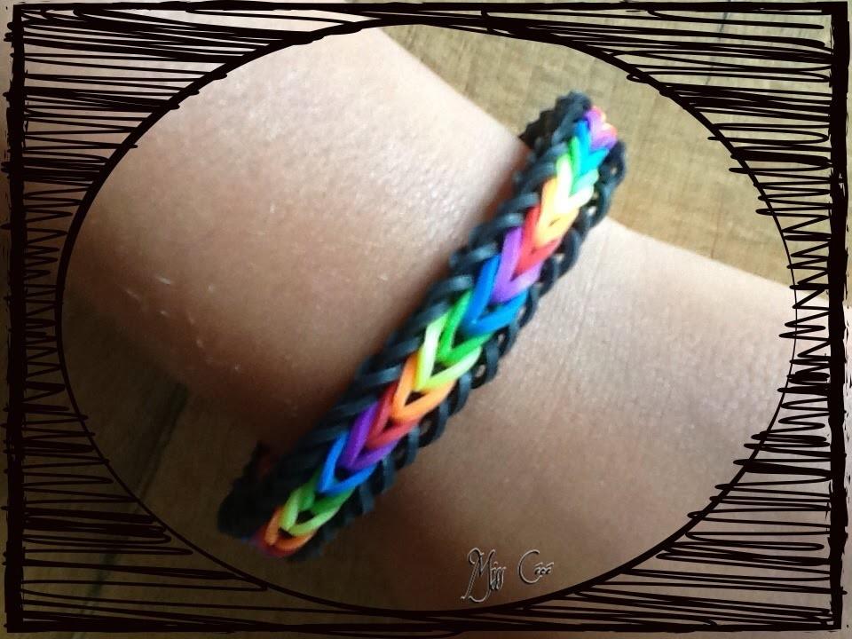 """Bracelet Rainbow Loom """"brésilien"""" avec les couleurs de l'arc en ciel"""