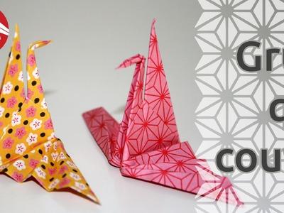 Origami - La grue qui couve - Hatching crane (HD) [Senbazuru]