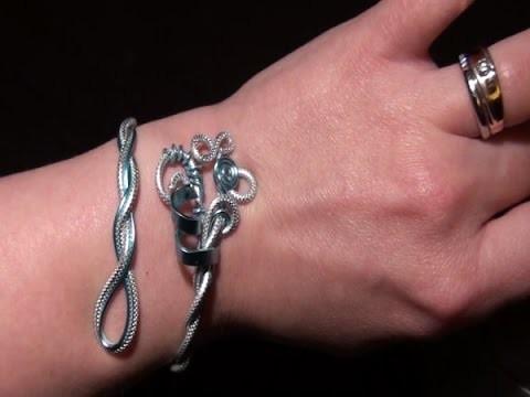 Tuto réaliser un bracelet en fil aluminium bleu glacier et argenté