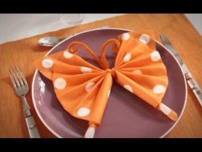 Pliage de serviette en papier - Papillon coloré - Labelleadresse.com