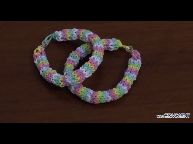 Tutoriel bracelet rainbow loom Hexafish avec fourchettes