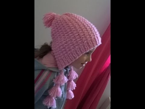 Bonnet type capuche tricot. Gorro tipo capucha dos agujas