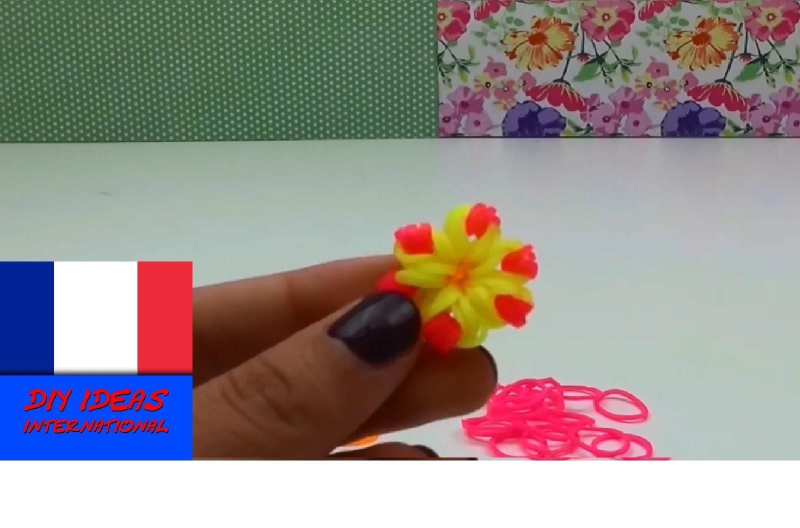 Comment faire une Fleur Pendule. Porte Clés en loom élastiques au crochet, tutoriel en français