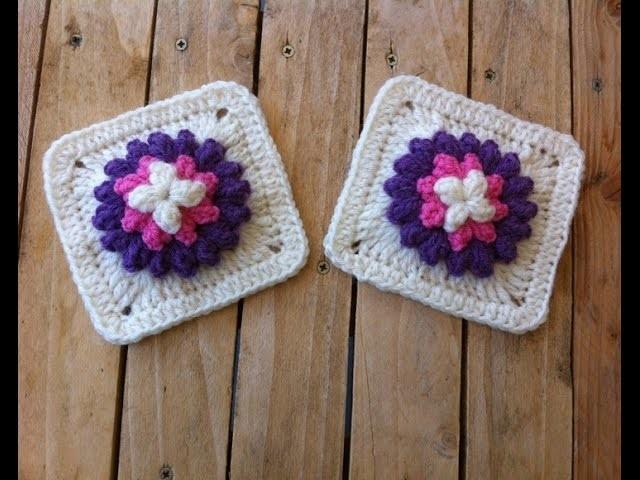 Granny fleur popcorn au crochet. granny flor en relieve crochet