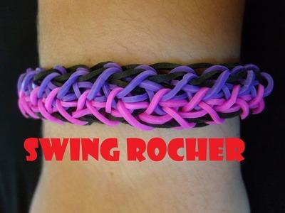 Bracelet elastique Swing rocher. Tuto francais niveau intermediaire. Rainbow loom bands
