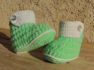 Chaussons bottines bébé crochet DIY. Botitas bebe crochet (partie1)