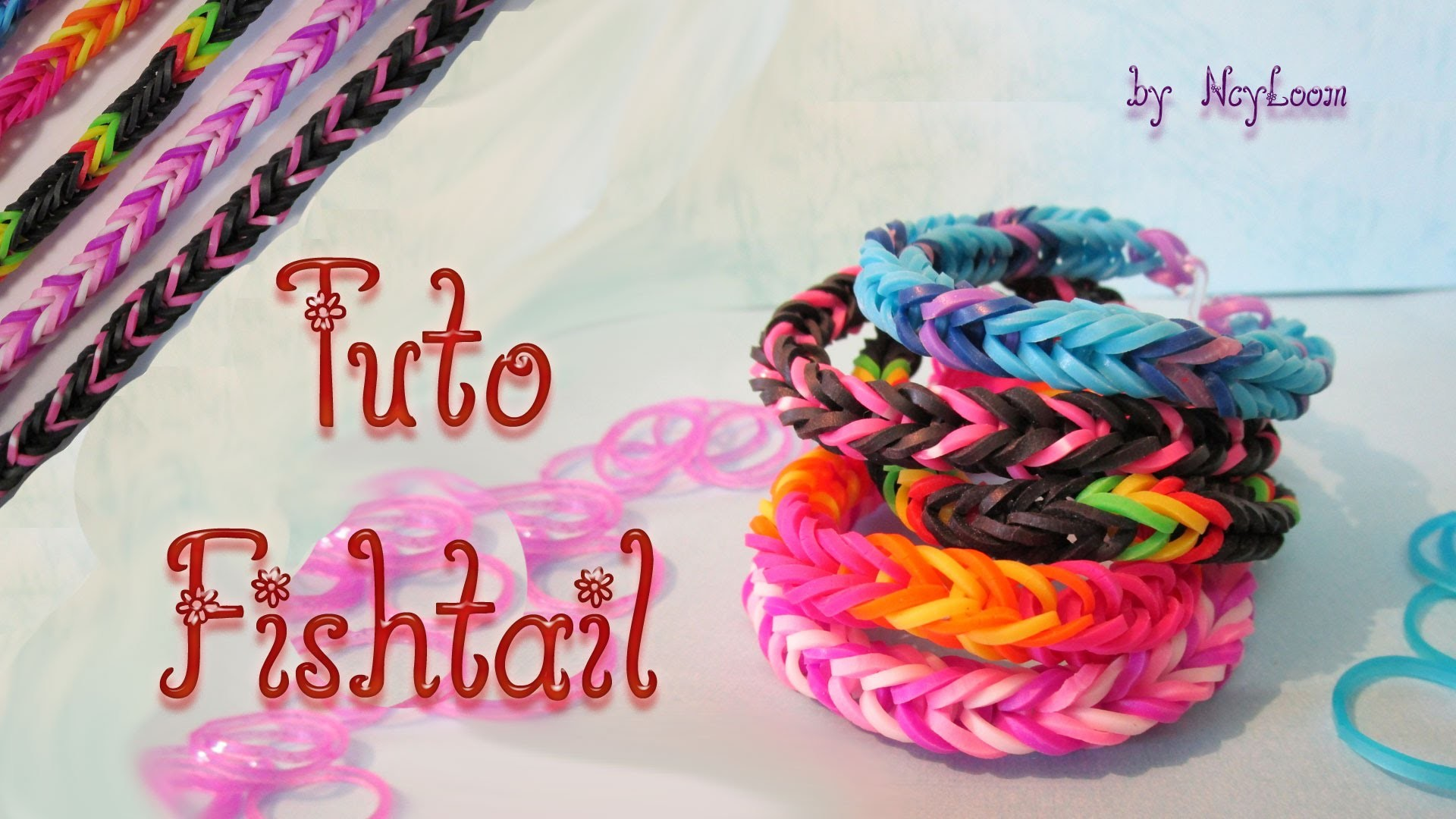 TUTO - Bracelet élastique Fishtail Rainbow Loom - HD - simple débutant