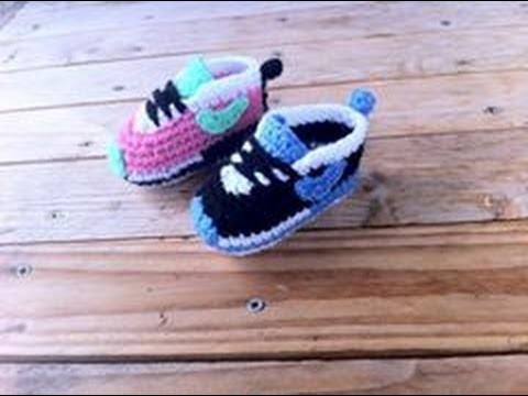 Baskets Nike bébé au crochet 2. Baby sneakers Nike crochet tutorial 2