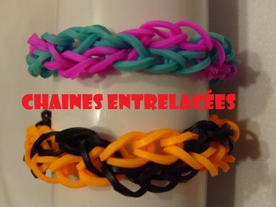 Bracelet elastique chaines entrelacées tuto francais, rainbow loom bands