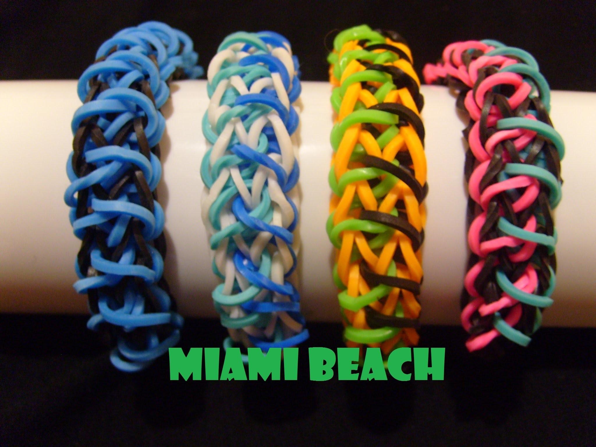 Bracelet elastique Miami Beach, tuto francais, rainbow loom bands