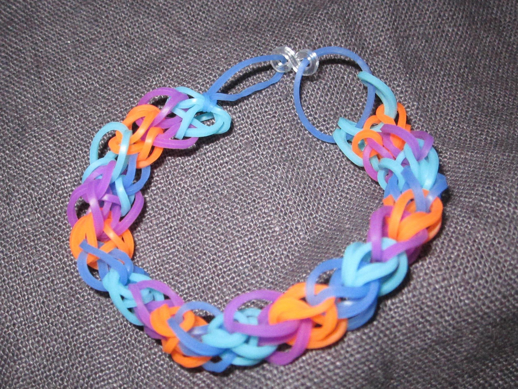 Bracelet rainbow loom motif croisé en français