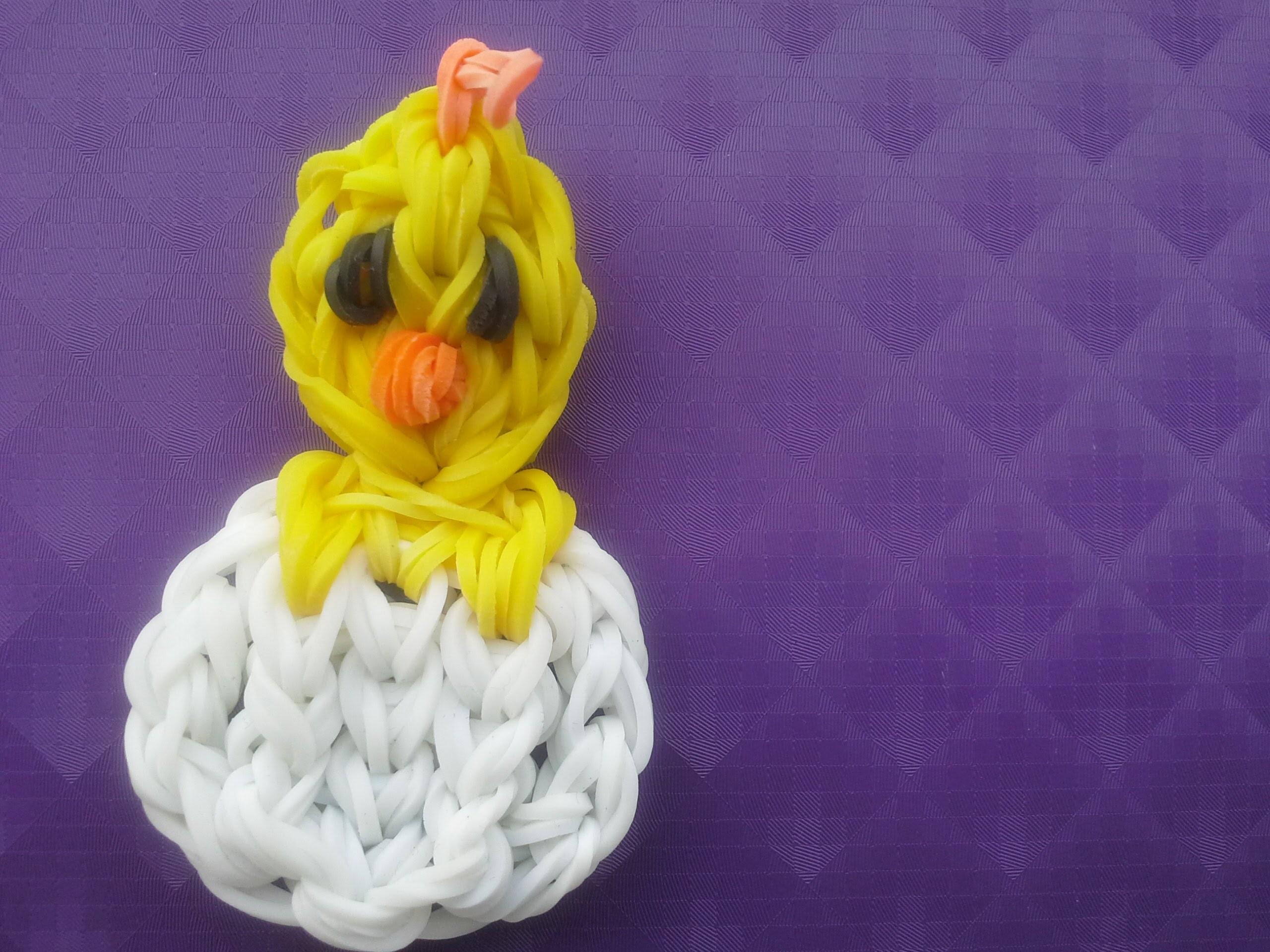 Bébe canard  ou poussin dans sa coquille en élastique fait avec le cra-z-loom ou rainbow loom