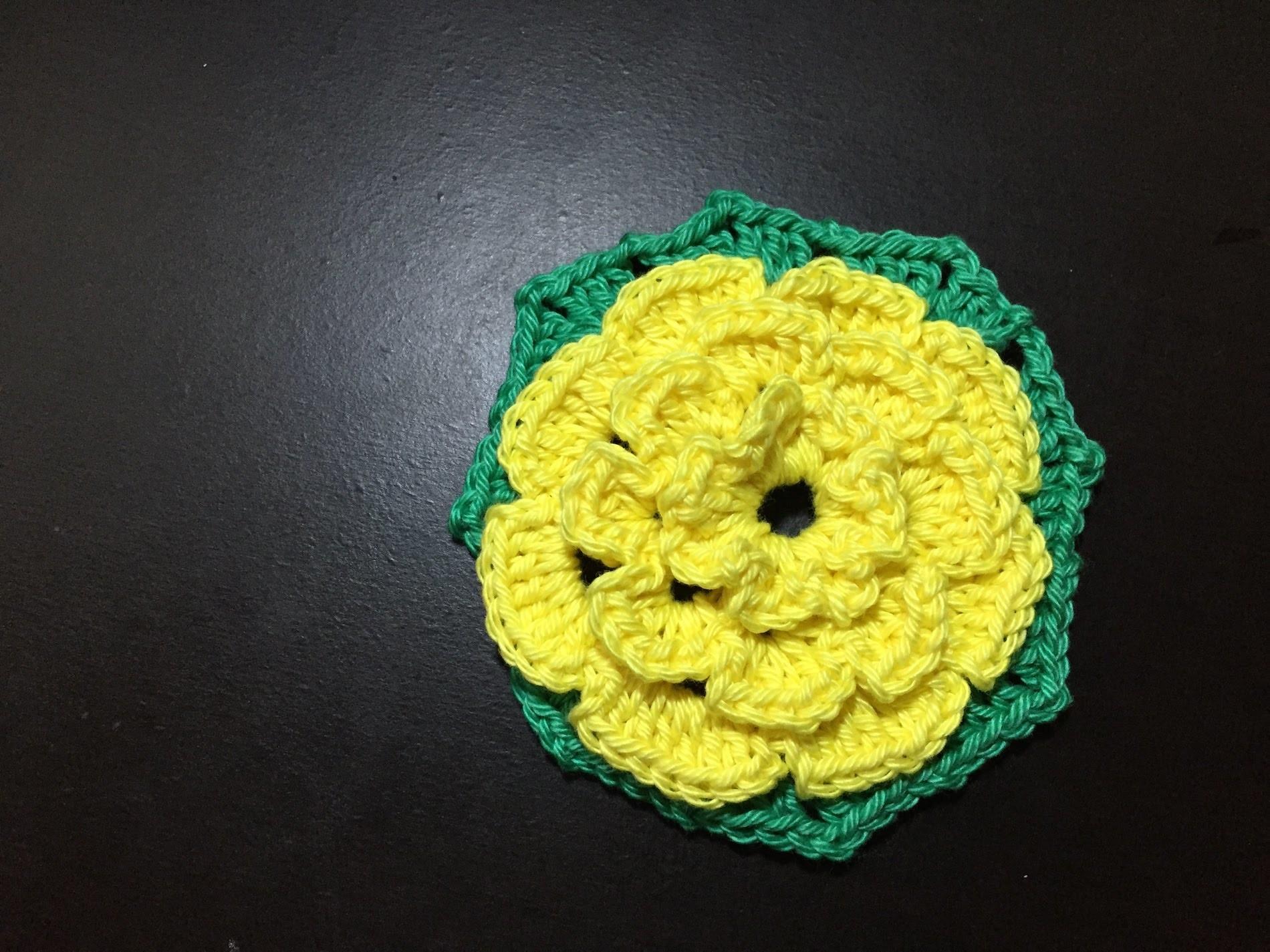 Tuto crochet jolie Fleur Hexagone