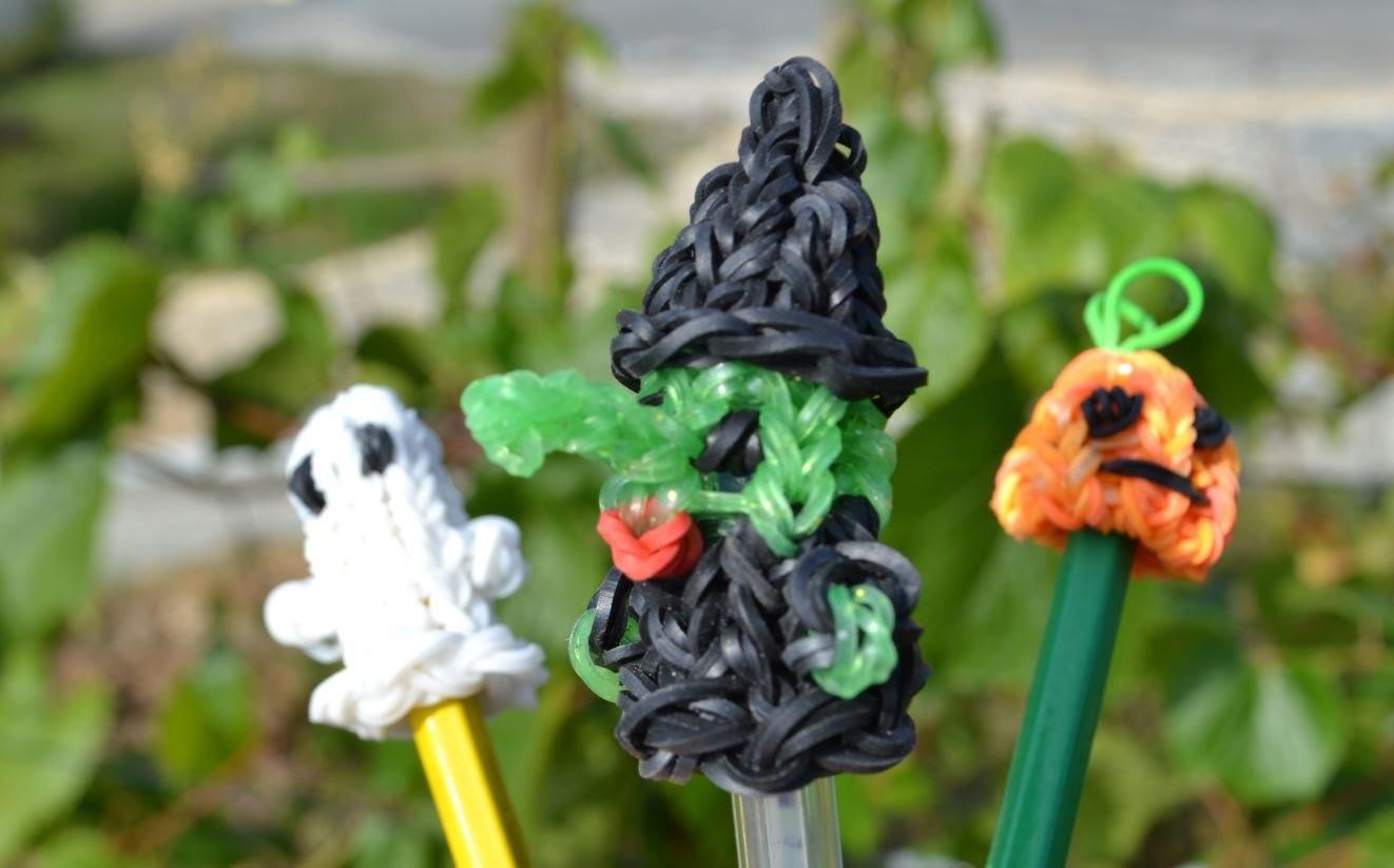 Sorcière en élastiques - Halloween - figurine marionnette - Witch rainbow loom