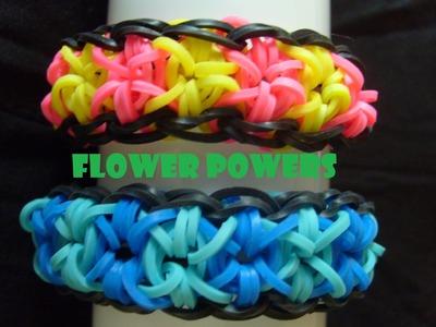 Bracelet elastique Flower Powers, tuto francais niveau débutant, rainbow loom bands