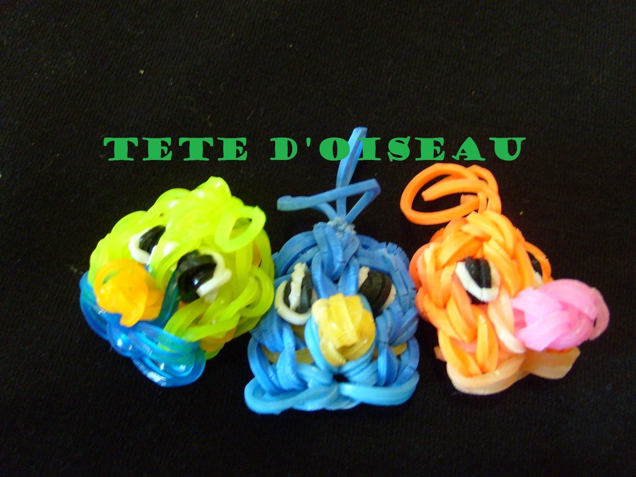 Rainbow loom bands Tete d'oiseau en élastique, tuto francais, bracelet elastique