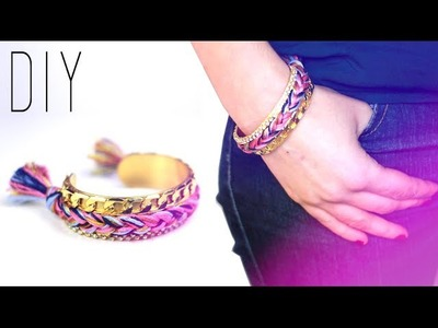 DIY : Bracelet Manchette tressée - Woven Bangle bracelet - friendship bracelet